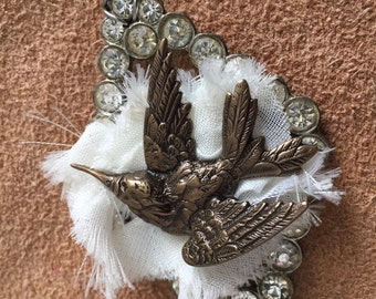 Nesting Bird Necklace with Vintage Findings, crystals & fiber.