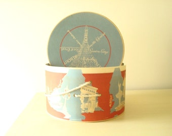 Vintage hatbox, 1950s Vogue Mont hat box, French milliners, Eiffel Tower, red white & blue, boudoir decor, bedroom storage, Chicago New York