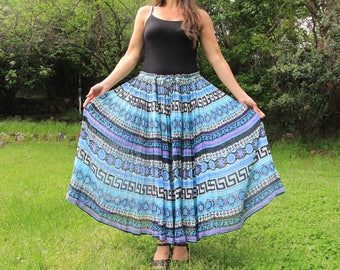 BLUE BUTTERFLY - 1980s 90s Papillon Maxi Skirt Gauzy Cotton Made in India Bohemian Boho Hippie Festival Periwinkle Lilac Sky Blue OSFM