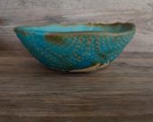 Ceramic serving Bowl - soup Bowl - Cereal bowl in White clay and turquoise glaze  chic and modern