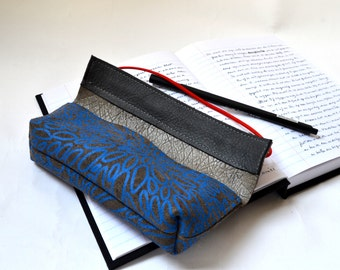 Leather case for pens or glasses (grey leather with blue print)