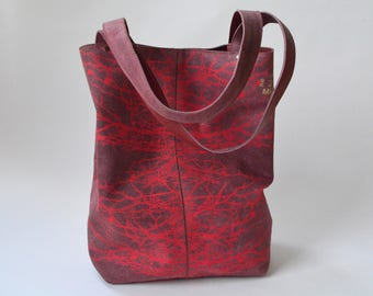 Red tote with neon red print