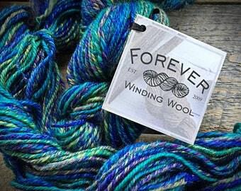 Handspun yarn, corriedale, Shy Violets, colbalt blue, purple, worsted weight wool, Navajo ply yarn