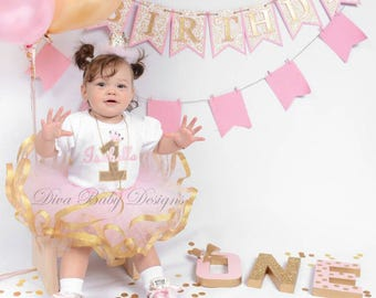 Light pink and gold baby girl first birthday outfit girls 1st 2nd 3rd 4th 5th birthday ribbon trimmed tutu outfit
