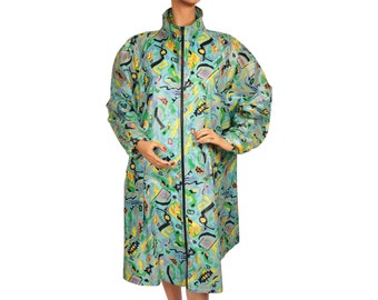 Vintage 1980s Raincoat Memphis Design New Wave Pattern Ladies Size M L