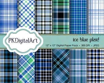 """Ice Blue Plaid Digital Paper - """"Ice Blue Plaid""""  Scrapbook Paper Background Crafting Supplies"""