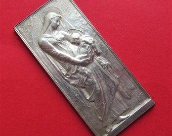 Antique Virgin Mary and Baby Jesus Religious Medal French Sterling Silver by Daniel Dupuis SS-63