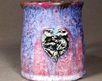 Art Nouveau Heart Maiden Callalilly Amazing Dark Red Purple Blue Crystalline\ Glazed Porcelain Mug
