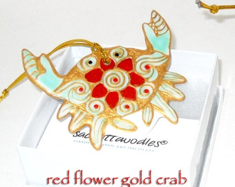Crab Ornament Hand Painted Porcelain Ornament Decorative Art Hostess Gift; Personalized
