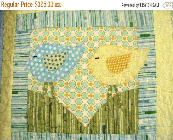 SALE Handmade Custom Baby Quilt Turtle Caterpillar Birds Sunrise Baby Girl Or Boy Quilt Blue Green Yellow Gender Neutral Boy Or Girl