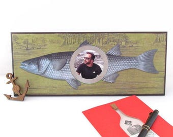 Fish Photo Frame - Desk Top Picture Frame - Fishing theme Photo Frame - Father's Day Photo Frame - Nautical Home Decor