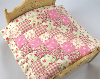 Dollhouse Miniature Patchwork Quilt in 12th Scale - Pink Squares
