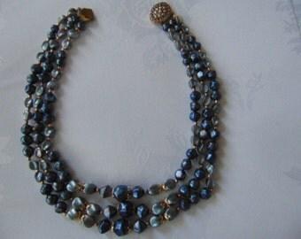1960s blue 3 row plastic necklace