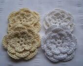 Crochet motif flower 3 inch white cream set of 4 flowers Sale 50% off