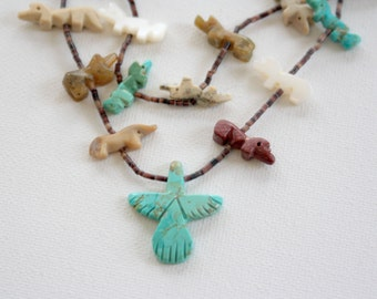 """WOLVES & THUNDER, Thunderbird Phoenix Pendant with Wolf Fetishes and Quill Beads, 28"""" Necklace"""