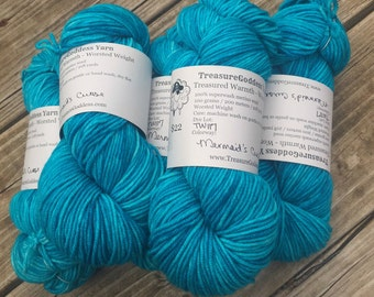 Mermaid's Curse Hand Dyed Turquoise Worsted Weight Yarn Hand Painted yarn 218 yards Superwash Merino Wool Blue Green bluegreen teal