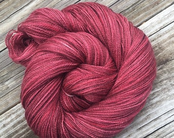 hand dyed lace weight yarn cashmere blend yarn Rosy Cheek'd Lass 875 yards baby alpaca silk cashmere blush cerise Rose rosewood dogwood pink