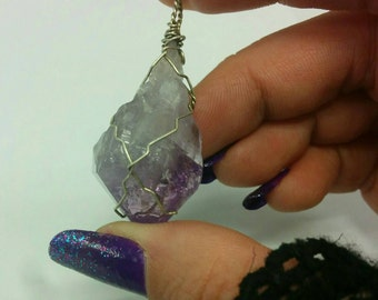Amethyst Point Wire Wrapped in Silver Filled wire