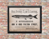 Rustic Fish Art Print Oysters Clams Ad Digital Home Wall Kitchen Decor Primitive Style Artwork Instant Digital Download