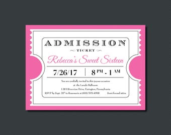 Printable - Admission Ticket - Party Invitation
