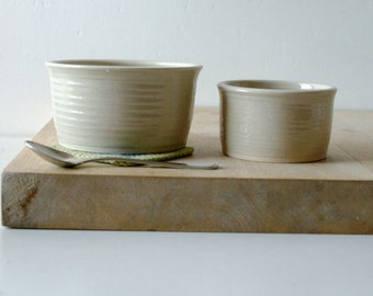 Set of two snack bowls in simply clay - hand thrown pottery dishes