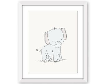 Elephant Nursery Art -- Little Elephant -- Safari Nursery Decor -- Nursery Art -- Children Art Print -- Kids Wall Art