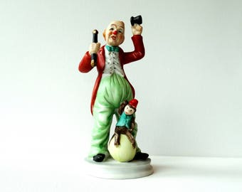 Vintage Clown with Monkey Ceramic Figurine - Designed Himark Giftware Taiwan