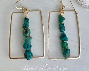 14k gold filled hammered SQUARE Turquoise earrings. Made in Hawaii USA. Gift bff bf mother bride bridesmaid beach southwest wedding