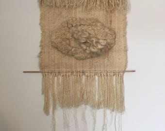 Vintage Weaving Fiber Art Wall Hanging, 1970's, Wool