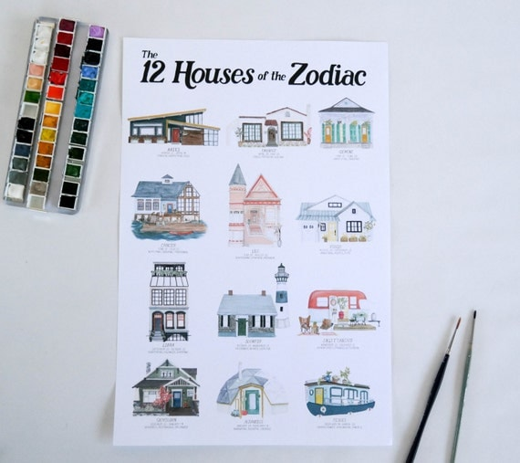 The 12 Houses of the Zodiac Art Print