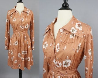 70s Boho Hippie Brown Floral Mini Dress / 1970s Collared Dress / Fall Dress Festival Dress / Small Medium