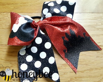 beautiful castle glitter bow - mrs mouse bow - black polka dots - red and white minnie bow for family vacation