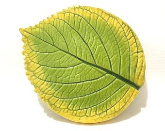 Leaf Spoon Rest, Hydrangea Leaf Dish, Hand-Built Leaf Pottery