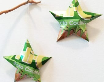 Hi-C Ecto Cooler Aluminum Can Recycled Stars, Christmas Ornaments, Home Decor, Funky Party Ornaments