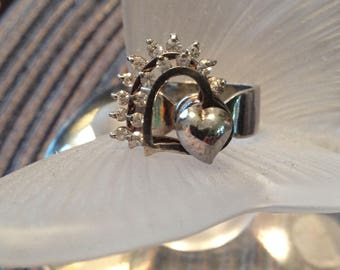 Heart Kinetic Ring Rhinestones Sterling Silver Size 6