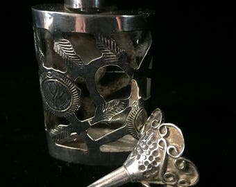 Vintage sterling Silver Covered Perfume Bottle with Funnel