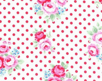 Flower Sugar Fall 2016 Sweet Carnival Collection Cotton Fabric by Lecien 31375-30 White Red Rose on Dot