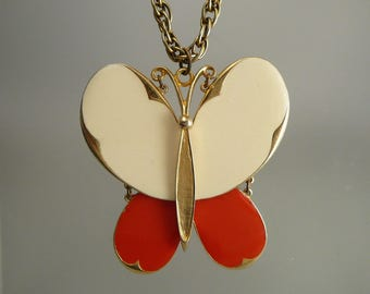 Vintage Red Butterfly Necklace Marked ART Hinged Articulated Enamel Insect Pendant