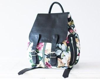 Floral backpack with black leather, canvas rucksack knapsack everyday flower back bag women - Artemis backpack