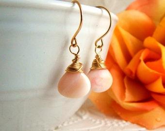 Pink Opal Earrings ~ AdoniaJewelry