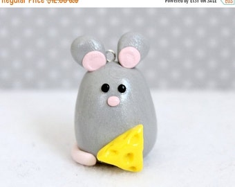 CHRISTMAS SALE Polymer Clay Mouse Christmas Ornament