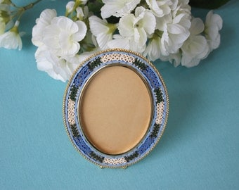 Vintage Glass Micro Mosaic Picture Frame Medium Oval Tiny White Daisies and Blue Forget Me Nots Marked Italy c.1960's