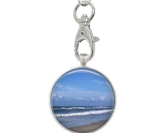 Beach Scene Art keychain - Ocracoke Island NC Beach - Ocean Scene - Atlantic Ocean - Shades of Blue Key chain, Vacation Memories Key Chain