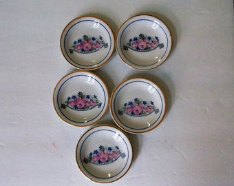Shabby Cottage Chic Butter Pats..Lot of 5 Butter Pats..Pin Dishes..Cottage Rose Design