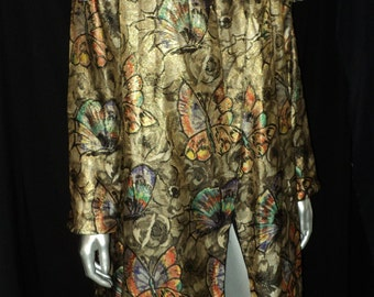 1920's Incredible Art Deco Metallic Lame Butterflies and Roses Opera Coat Black Fur Collar Amazing Colors Historical Collectible