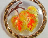 Two Leaves Czech Glass Button