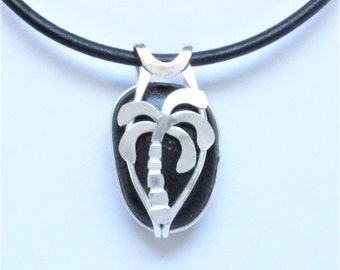 Sea Glass Jewelry - Sterling Caged Rare Black English Sea Glass Palm Tree Necklace
