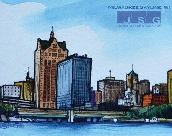 Milwaukee Skyline No 6 Pen, Ink and Watercolor Print by James Steeno