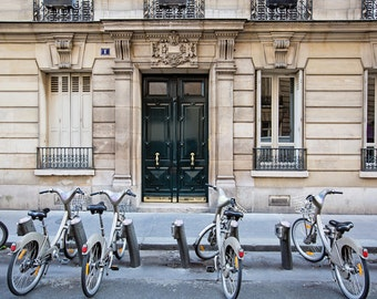 Paris Bicycles, Bikes in Paris, Paris Decor, Paris Photography, Paris Doors Art Print, Travel Photography, Wanderlust Art Print