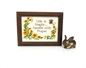 Vintage Embroidery, Life is Fragile Handle with Prayer, Crewel Work, Completed and Framed